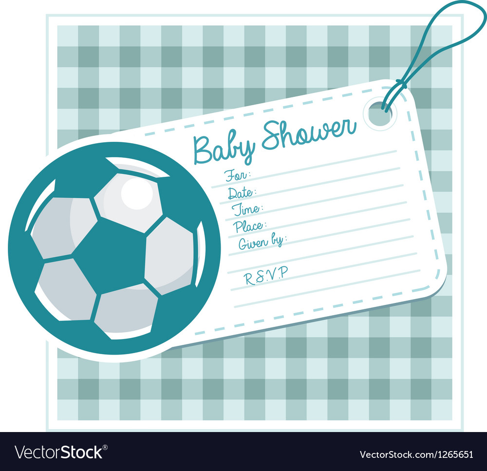 Soccer baby shower invite card vector | Price: 1 Credit (USD $1)