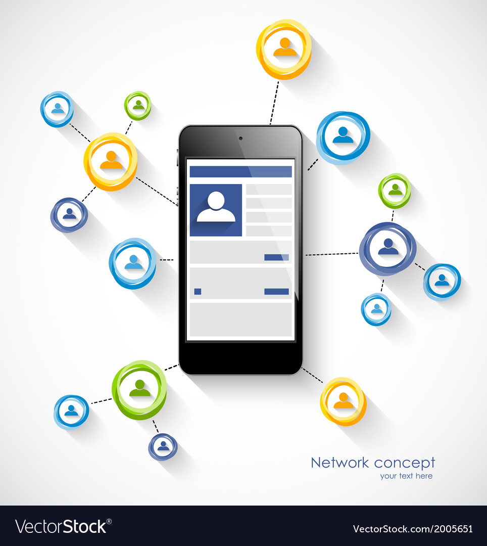 Social network concept with smartphone vector | Price: 1 Credit (USD $1)