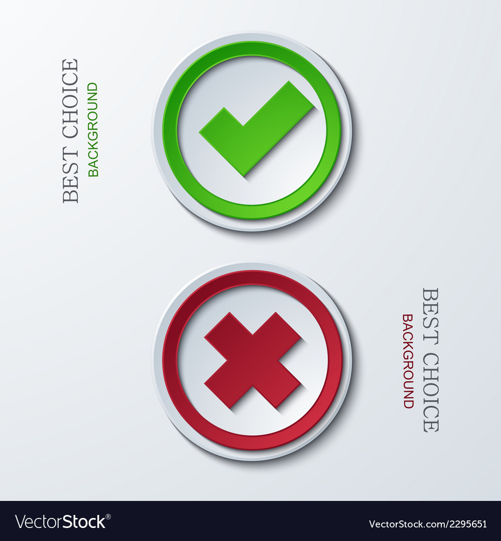 Yes or no circle icons vector | Price: 1 Credit (USD $1)