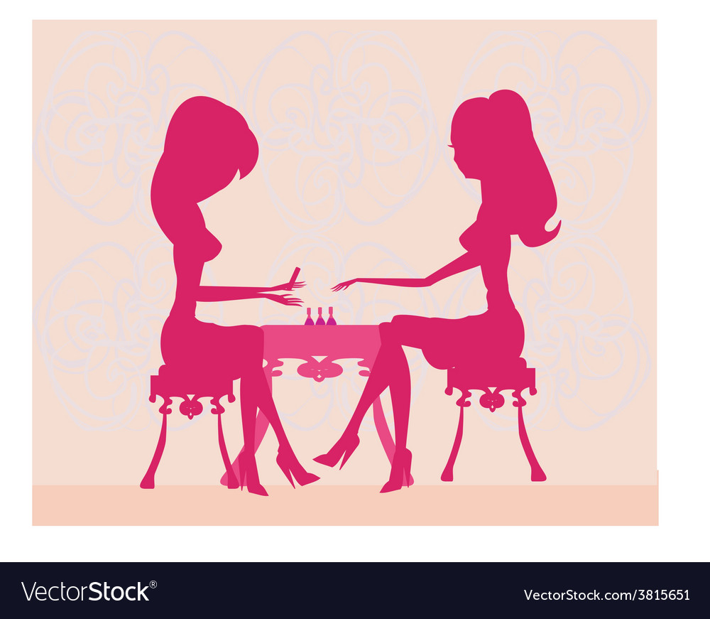 Young lady silhouette doing manicure in beauty vector | Price: 1 Credit (USD $1)