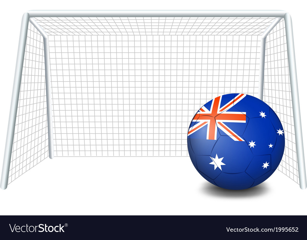 A soccer ball near the net with the flag of vector | Price: 1 Credit (USD $1)