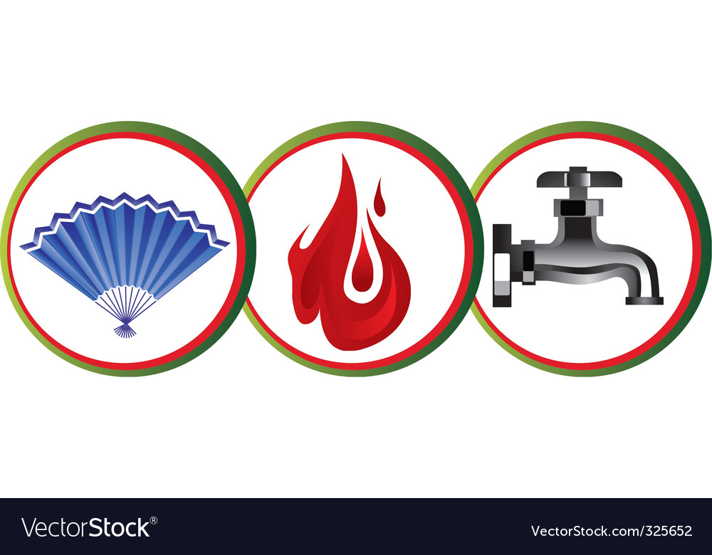 Air fire water icons vector | Price: 1 Credit (USD $1)