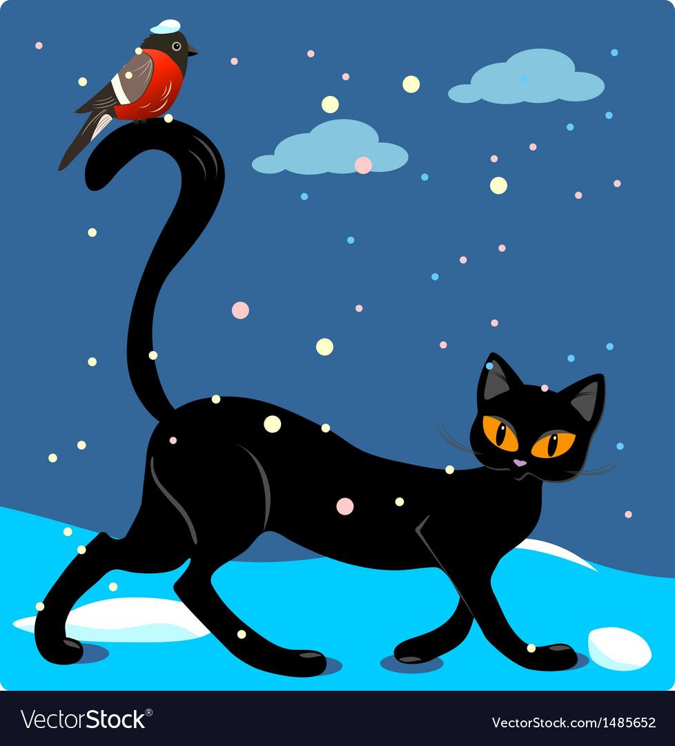 Cat and bird vector | Price: 1 Credit (USD $1)
