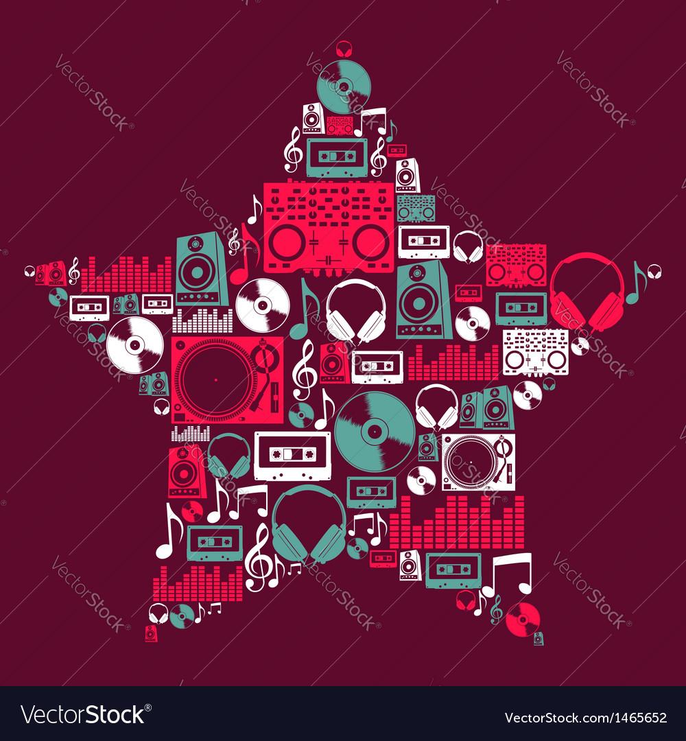 Dj music icons star vector | Price: 1 Credit (USD $1)