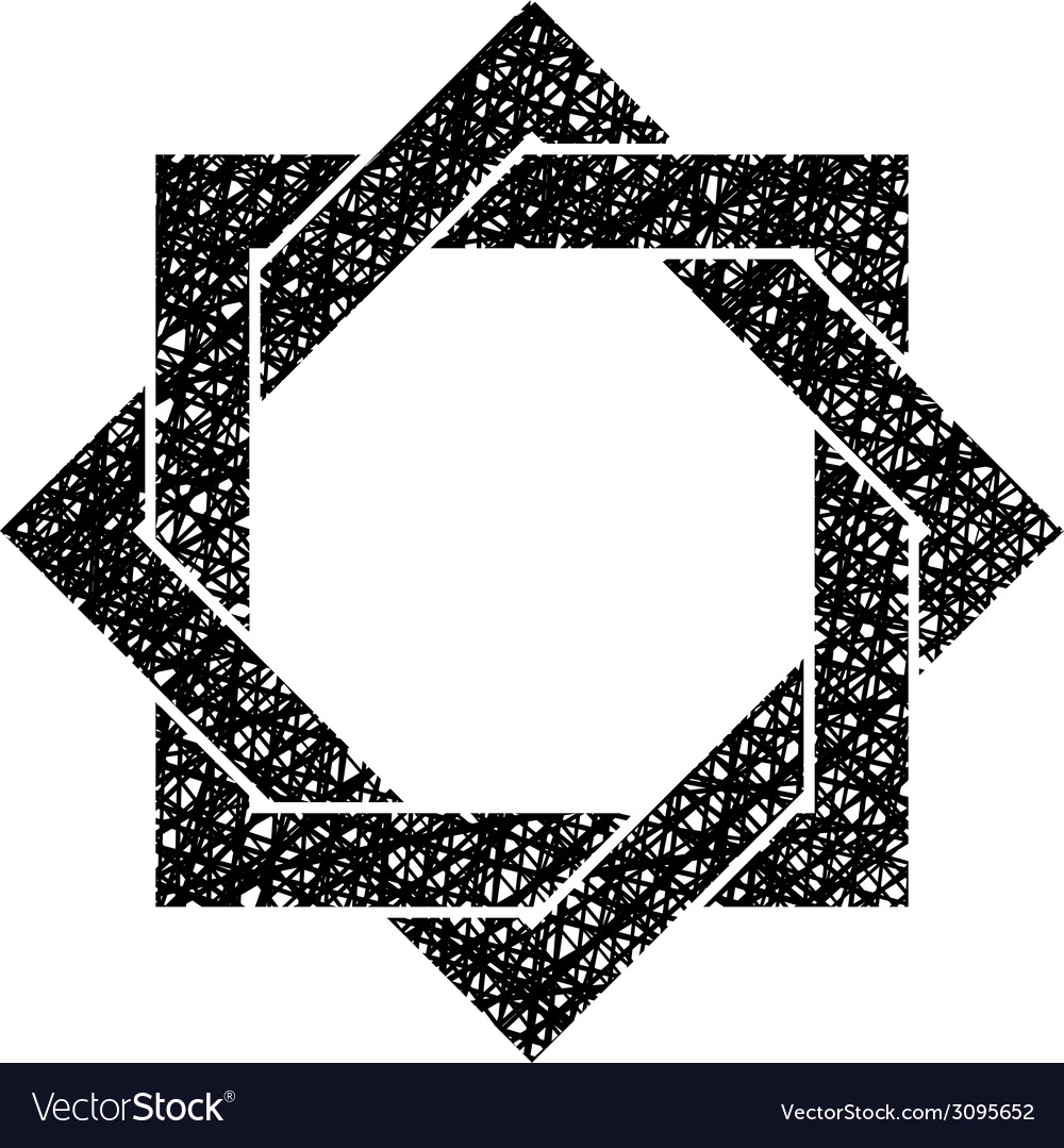 Eight point star symbol with hand drawn lines vector | Price: 1 Credit (USD $1)