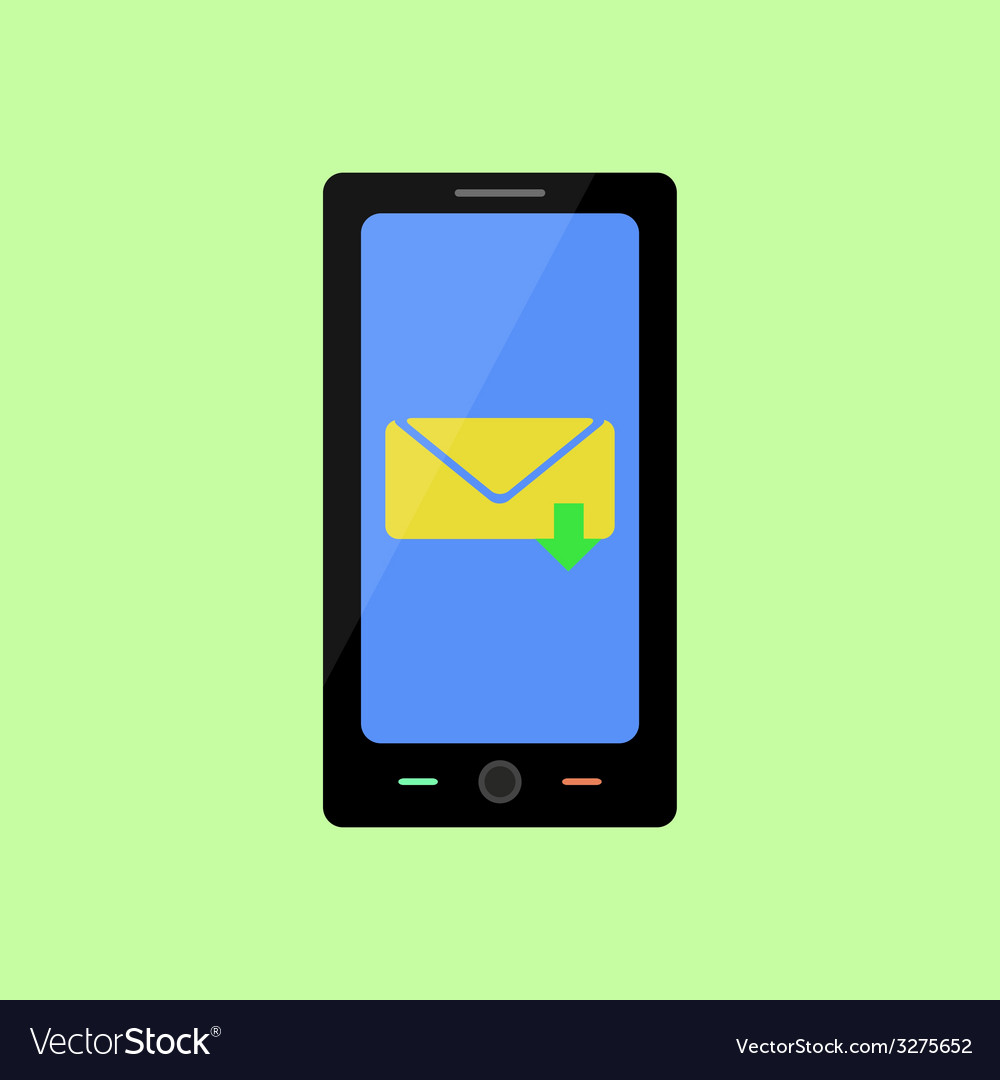 Flat style smart phone with inbox message vector   Price: 1 Credit (USD $1)
