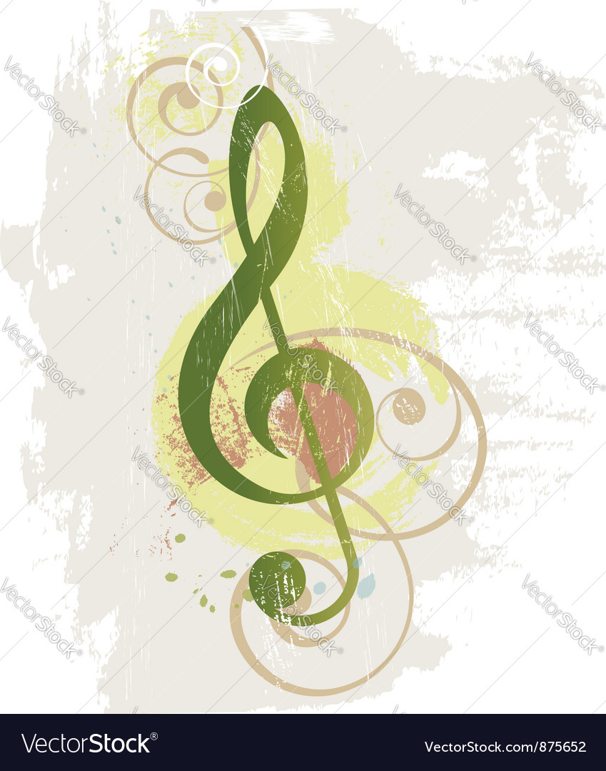 Grunge music background with treble clef vector | Price: 1 Credit (USD $1)