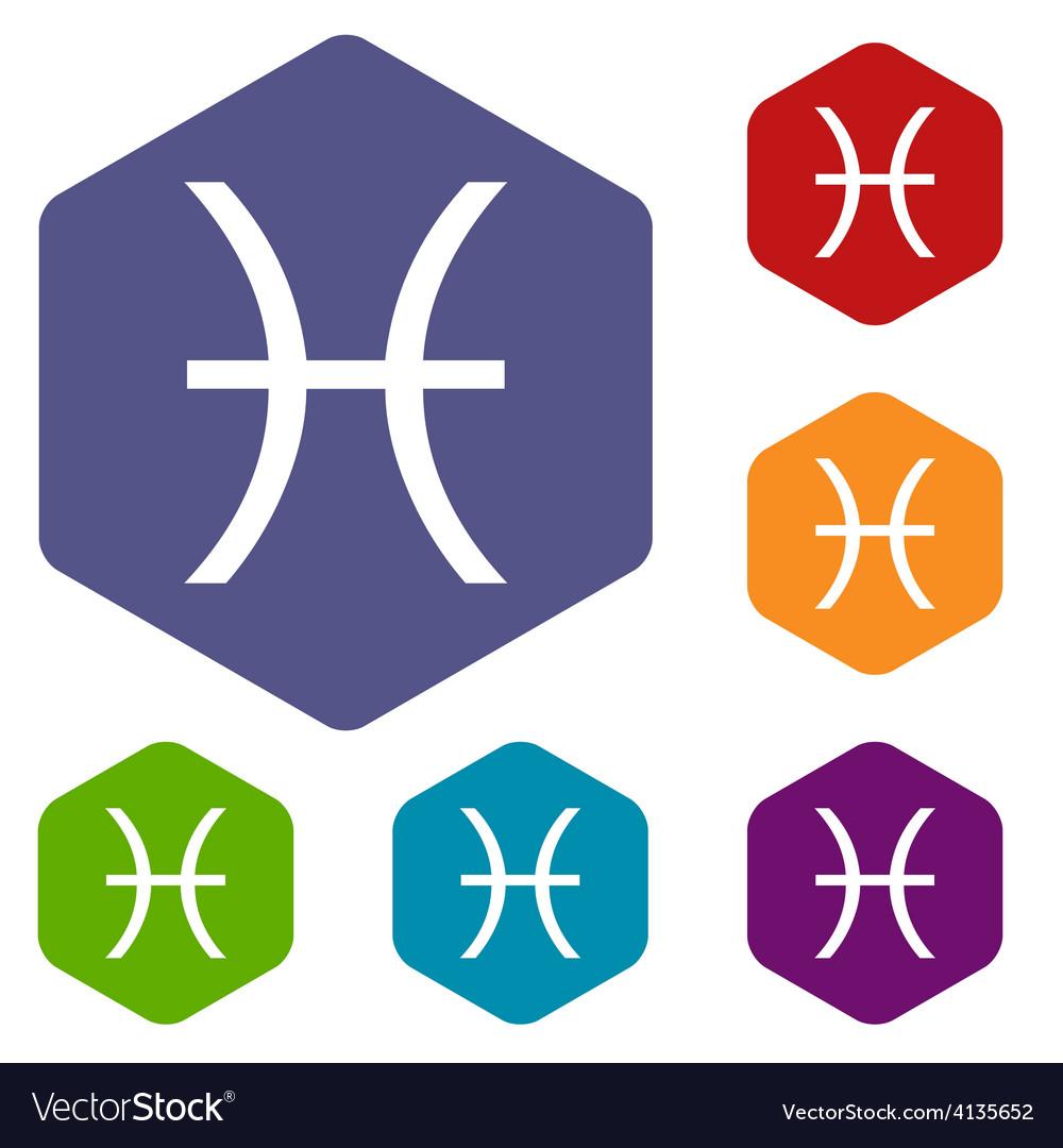 Pisces rhombus icons vector   Price: 1 Credit (USD $1)