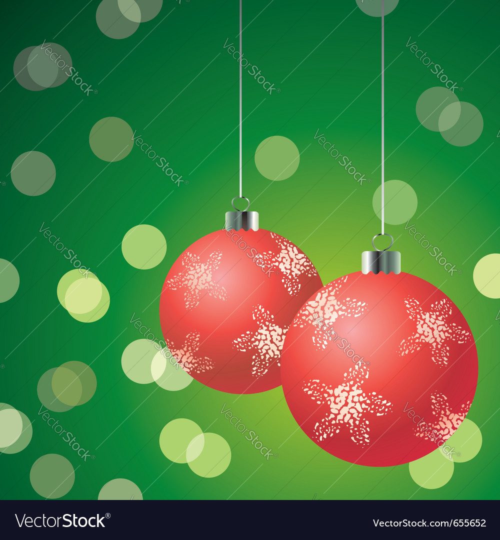 Red christmas balls on the green background vector | Price: 1 Credit (USD $1)