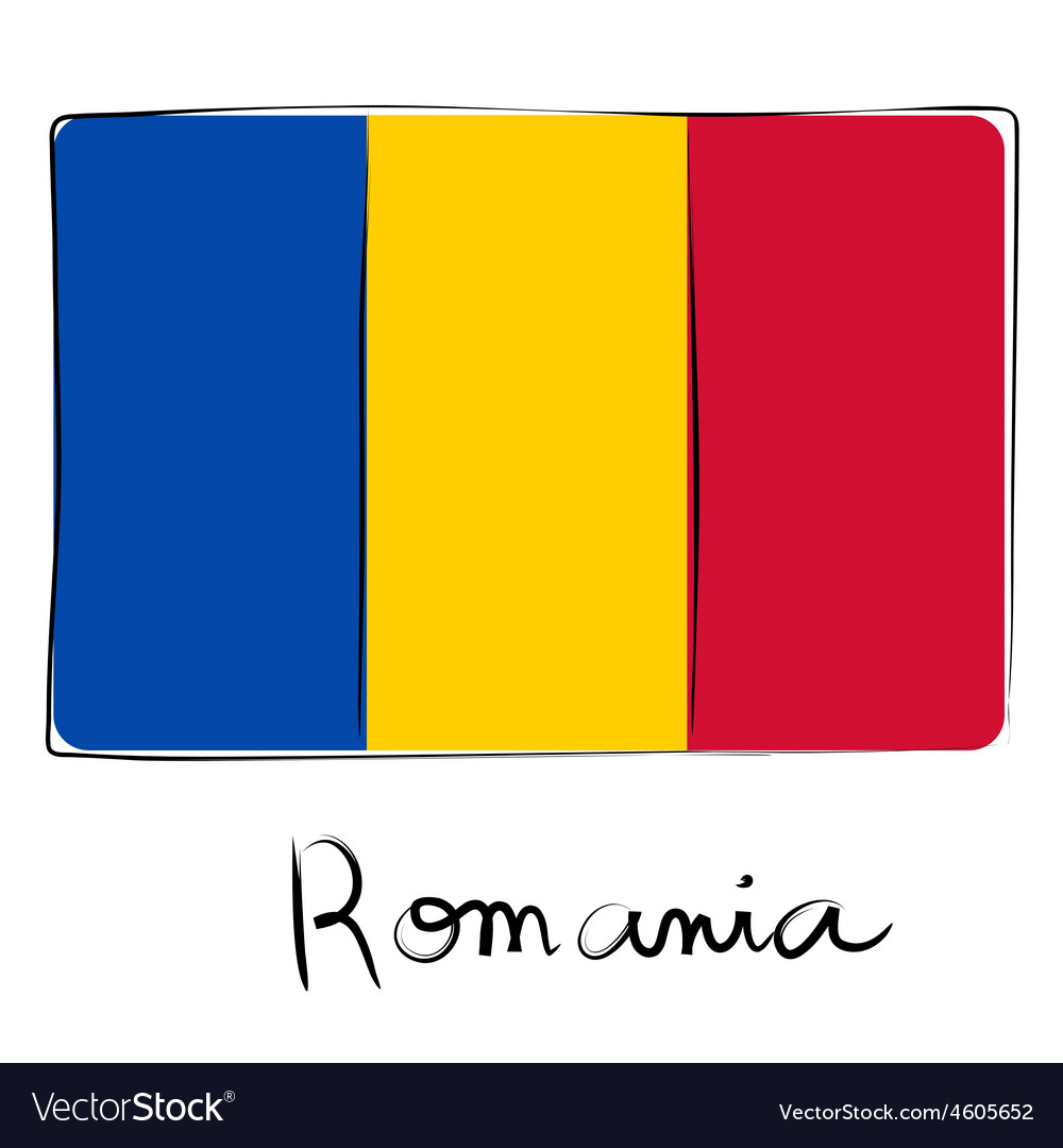 Romania flag doodle vector | Price: 1 Credit (USD $1)