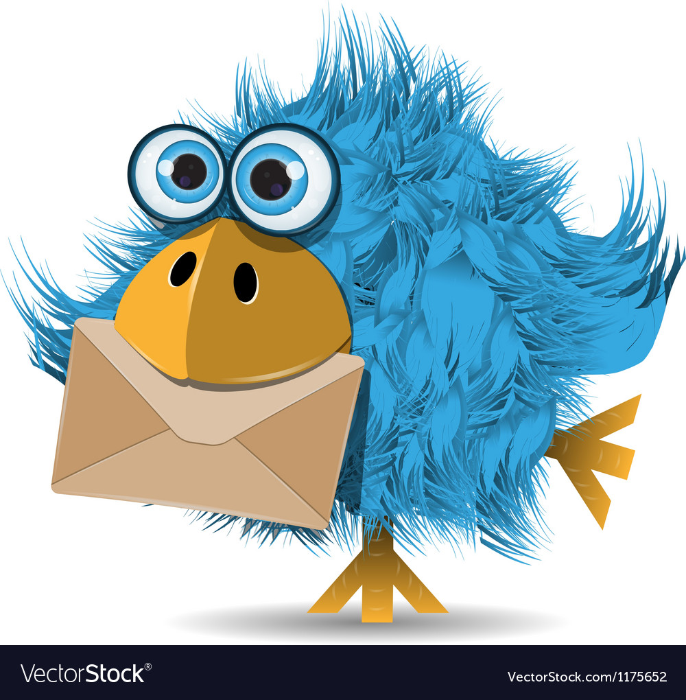 Shaggy blue bird with envelope vector | Price: 3 Credit (USD $3)
