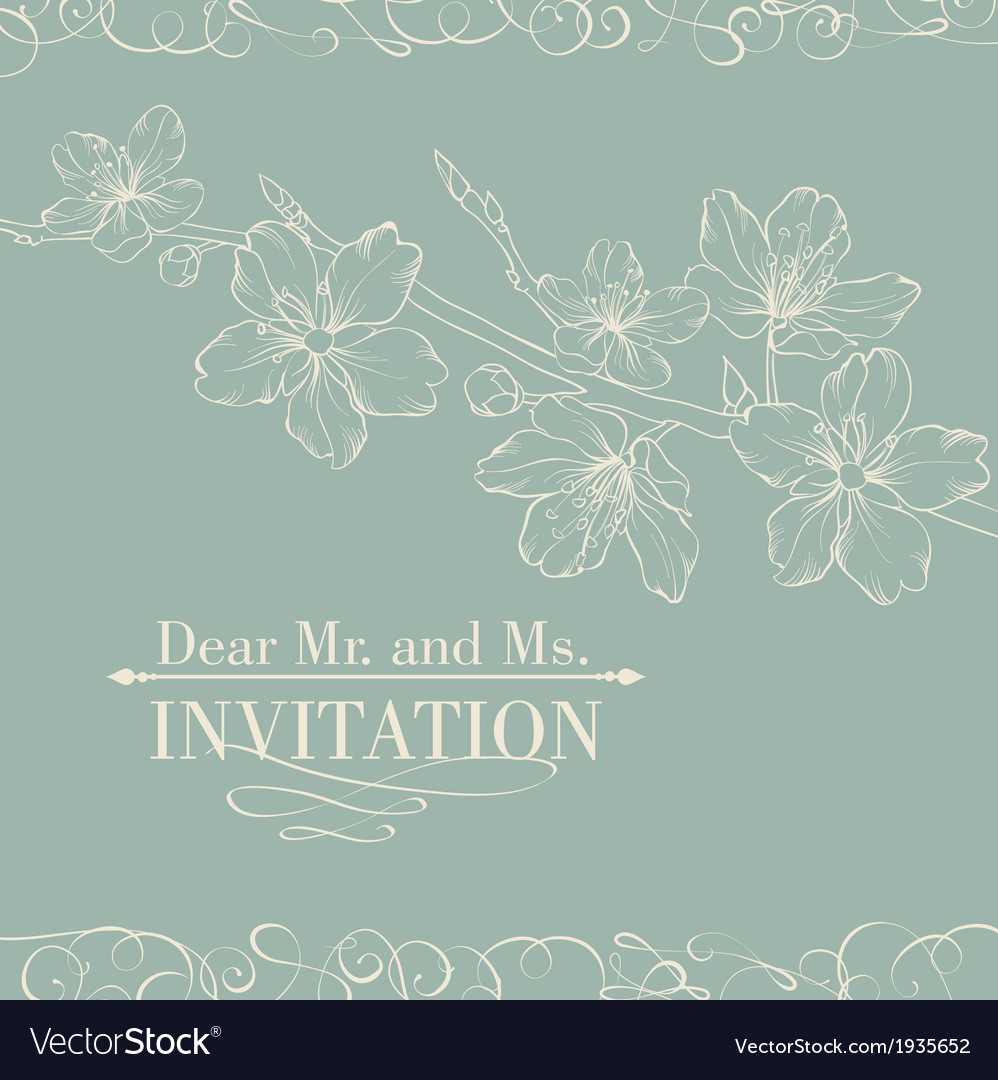 Vintage decorative invitation card with sakura vector | Price: 1 Credit (USD $1)