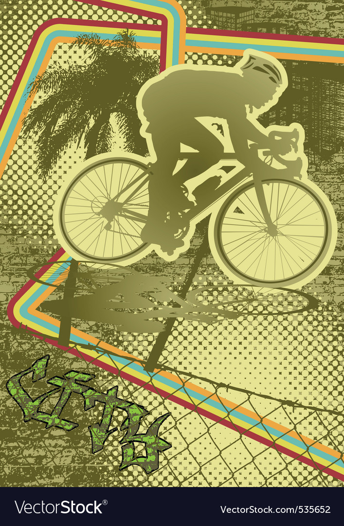Vintage urban grunge cyclist vector | Price: 1 Credit (USD $1)