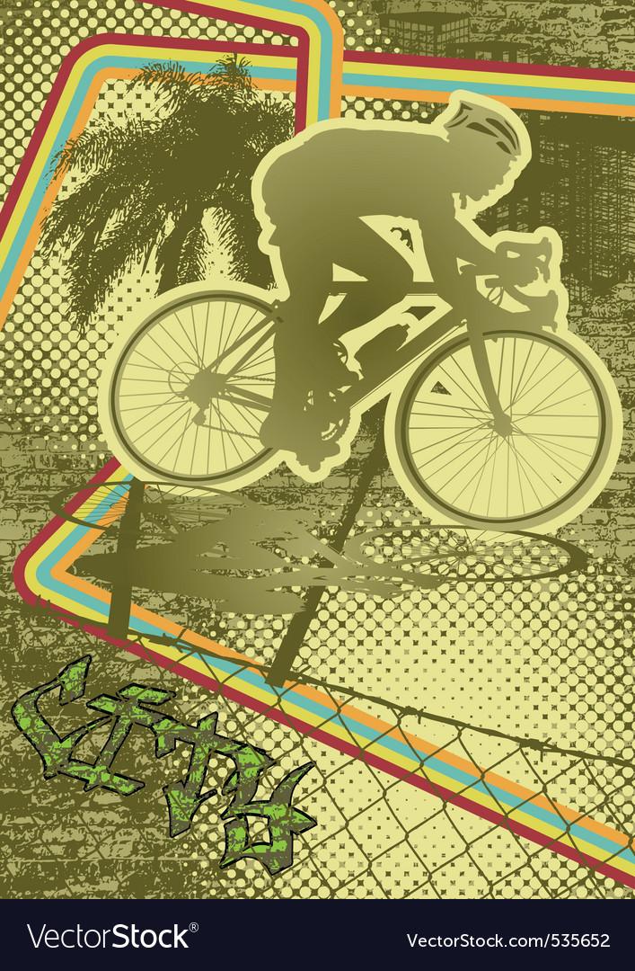 Vintage urban grunge cyclist vector | Price: 1 Credit (USD $1)