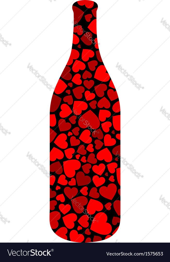 Beverage bottle with hearts vector | Price: 1 Credit (USD $1)