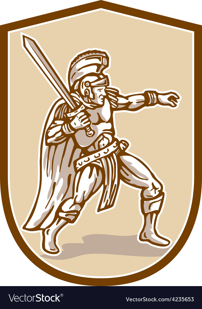 Centurion roman soldier wielding sword cartoon vector | Price: 1 Credit (USD $1)