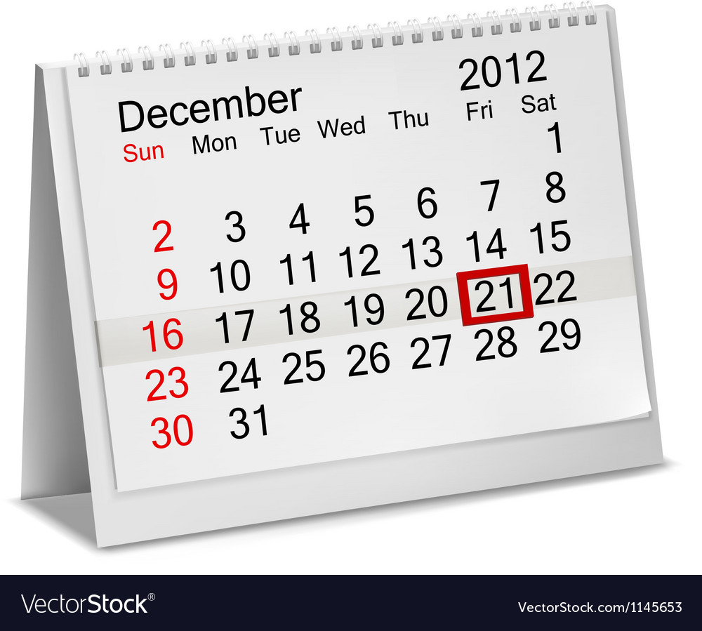 Desktop calendar 2012- december vector | Price: 1 Credit (USD $1)