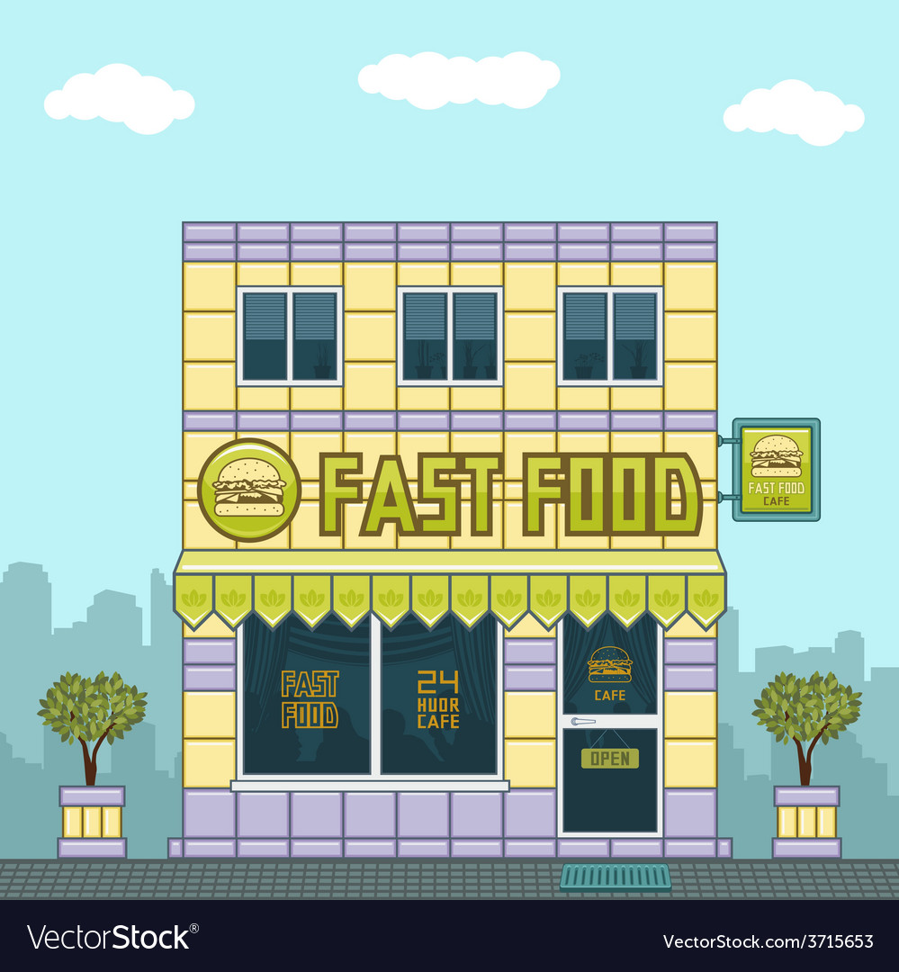 Facade cafe vector | Price: 1 Credit (USD $1)