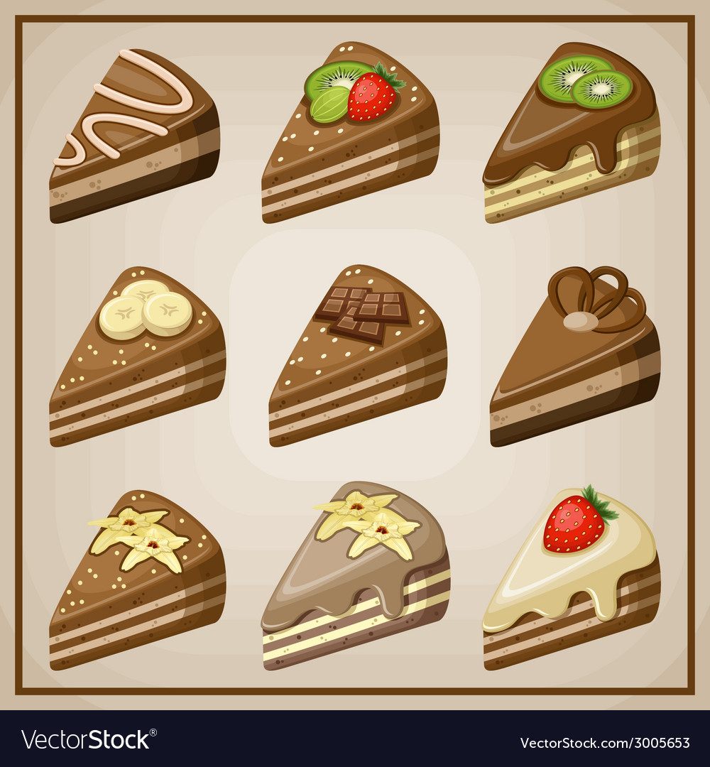 Image set of nine cakes vector | Price: 1 Credit (USD $1)