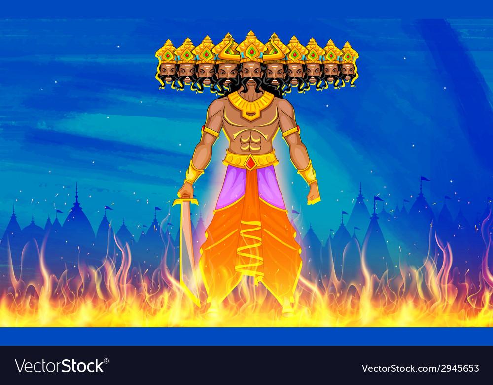 Ravan dahan for dusshera celebration vector | Price: 1 Credit (USD $1)