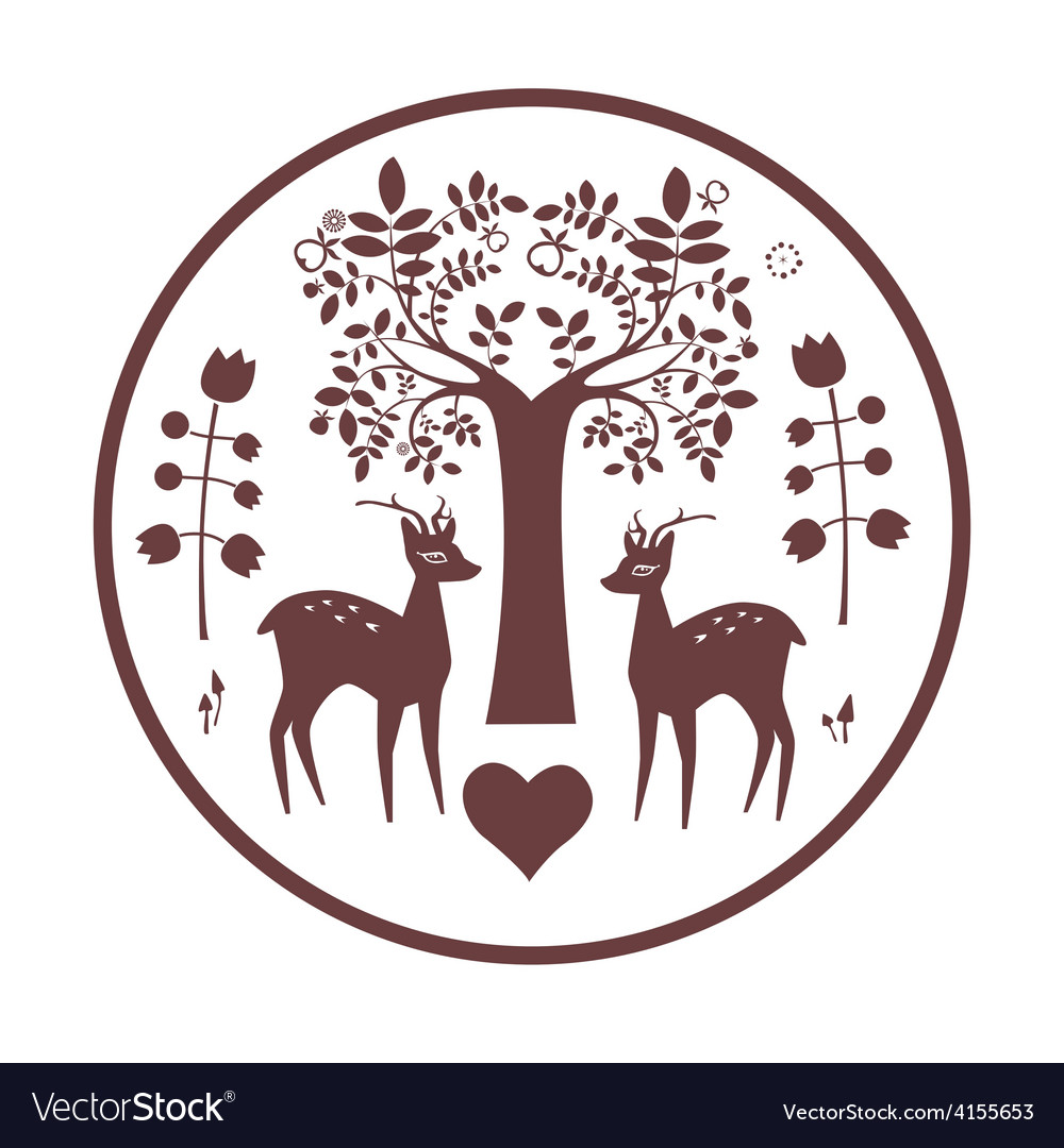 Round design with fantasy deer and tree vector | Price: 1 Credit (USD $1)