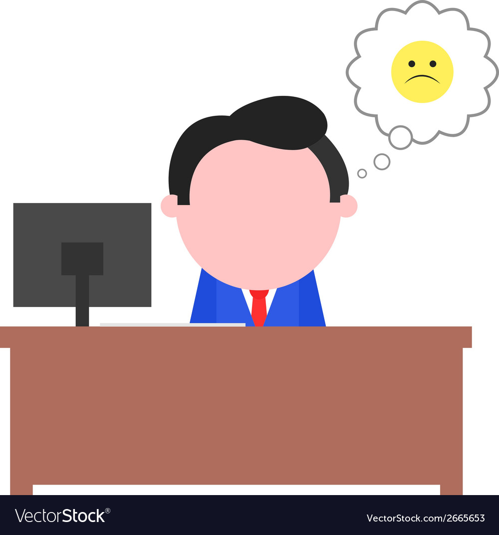 Sad businessman sitting behind desk vector | Price: 1 Credit (USD $1)