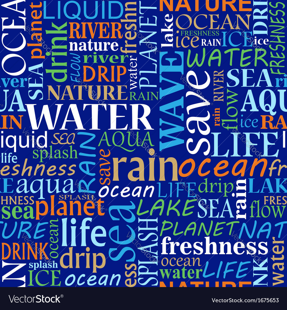 Seamless tag cloud with water words vector | Price: 1 Credit (USD $1)