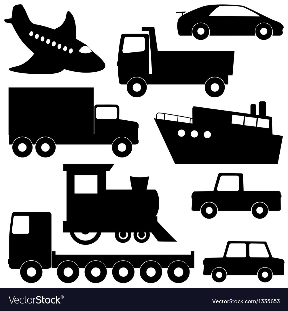 Set 1 of different transport silhouettes vector | Price: 1 Credit (USD $1)