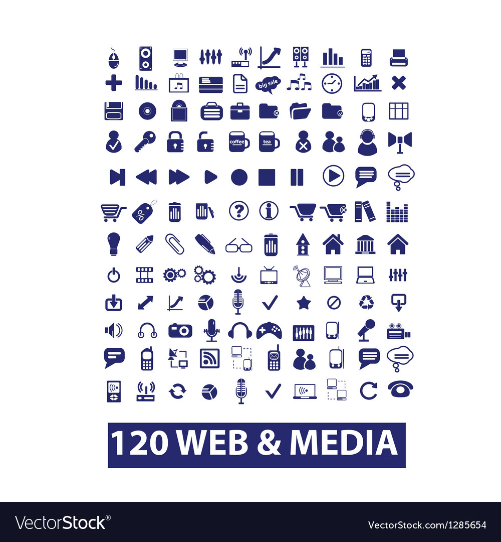 120 media  web icons set vector | Price: 1 Credit (USD $1)
