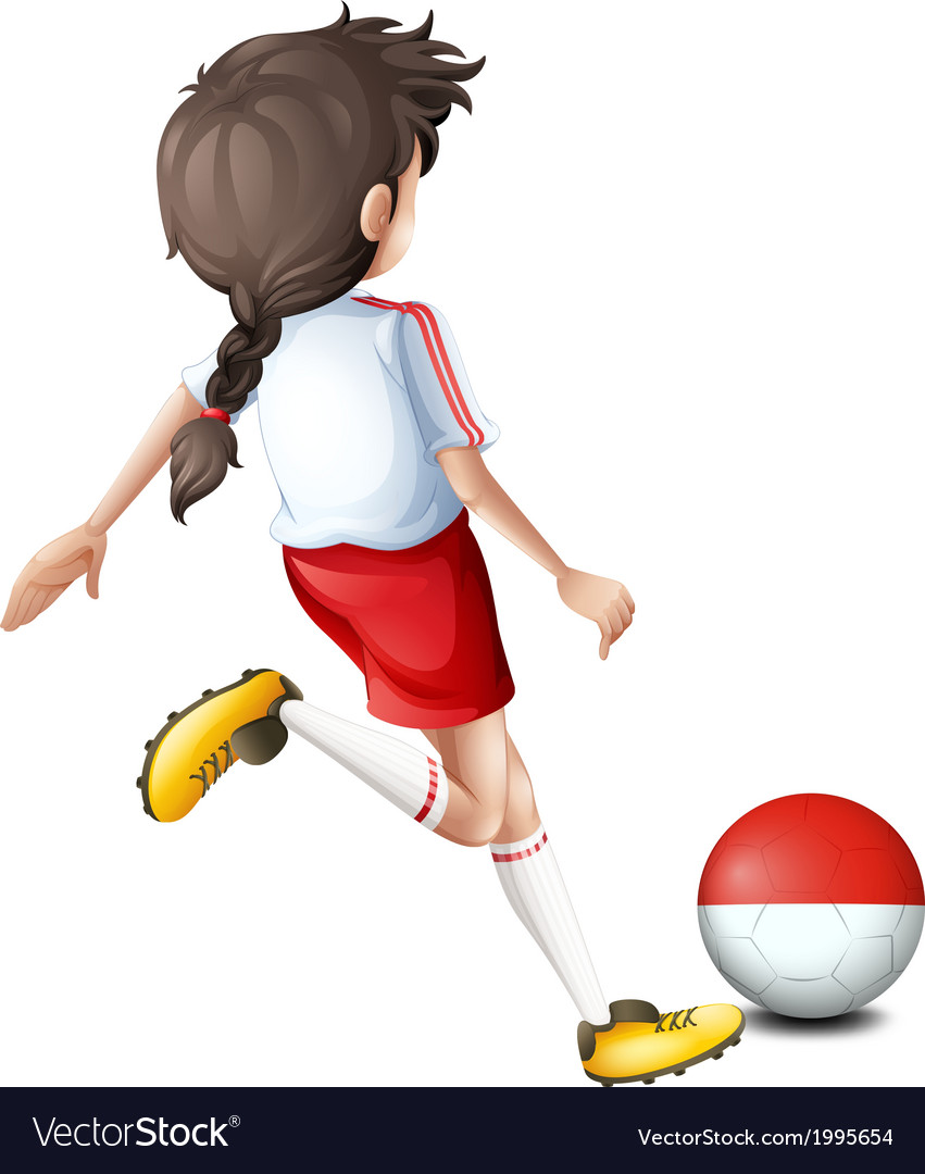 A soccer player with the indonesian flag vector | Price: 1 Credit (USD $1)