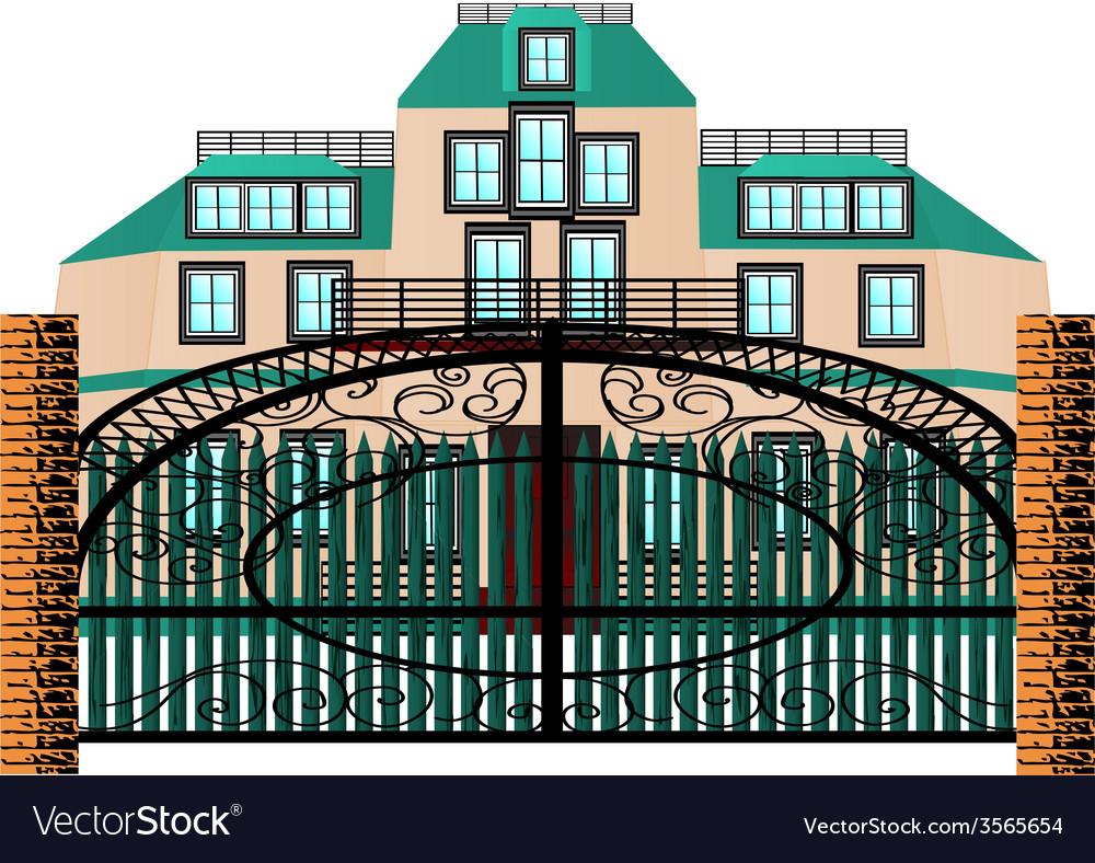 Brick mansion house vector | Price: 1 Credit (USD $1)