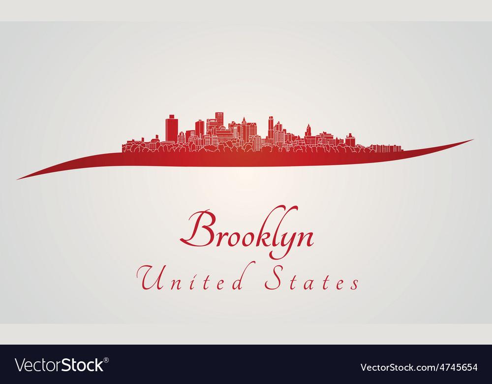 Brooklyn skyline in red vector   Price: 1 Credit (USD $1)
