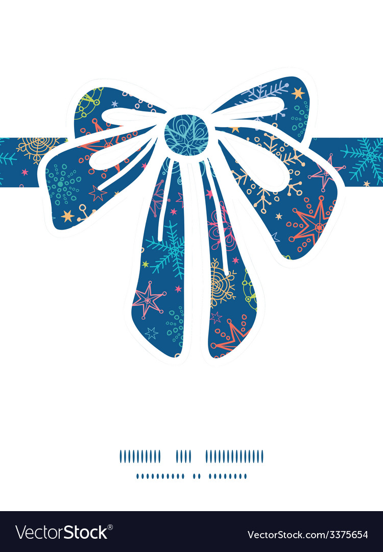 Colorful doodle snowflakes gift bow silhouette vector | Price: 1 Credit (USD $1)