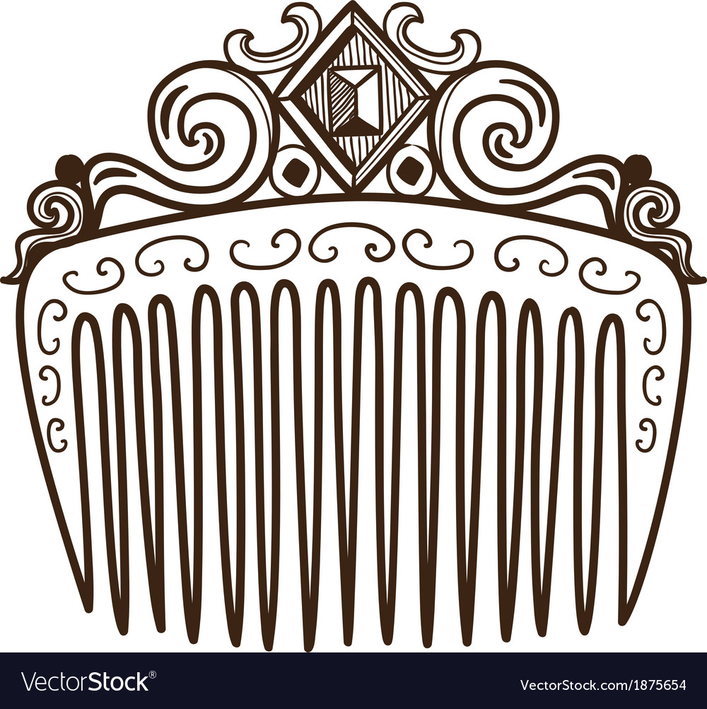 Comb with decorations vector | Price: 1 Credit (USD $1)