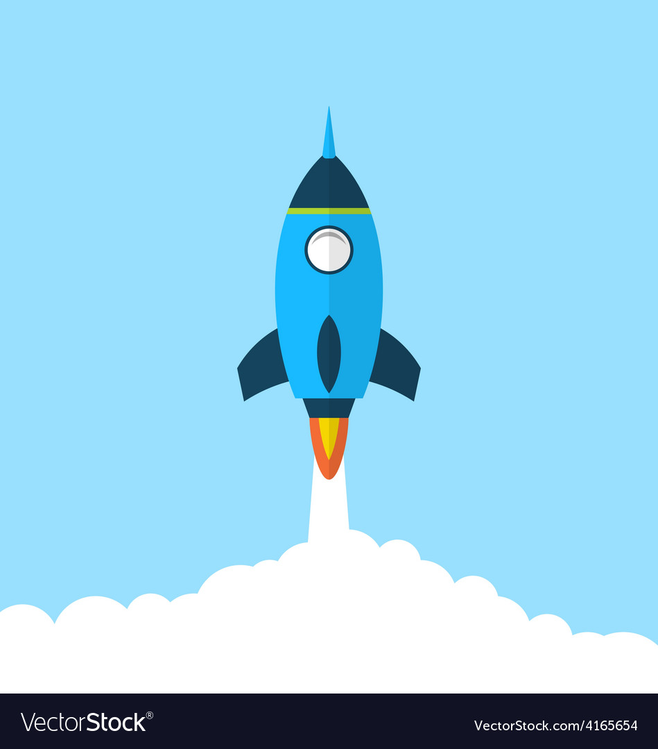 Flat icon of rocket with long shadow style startup vector | Price: 1 Credit (USD $1)