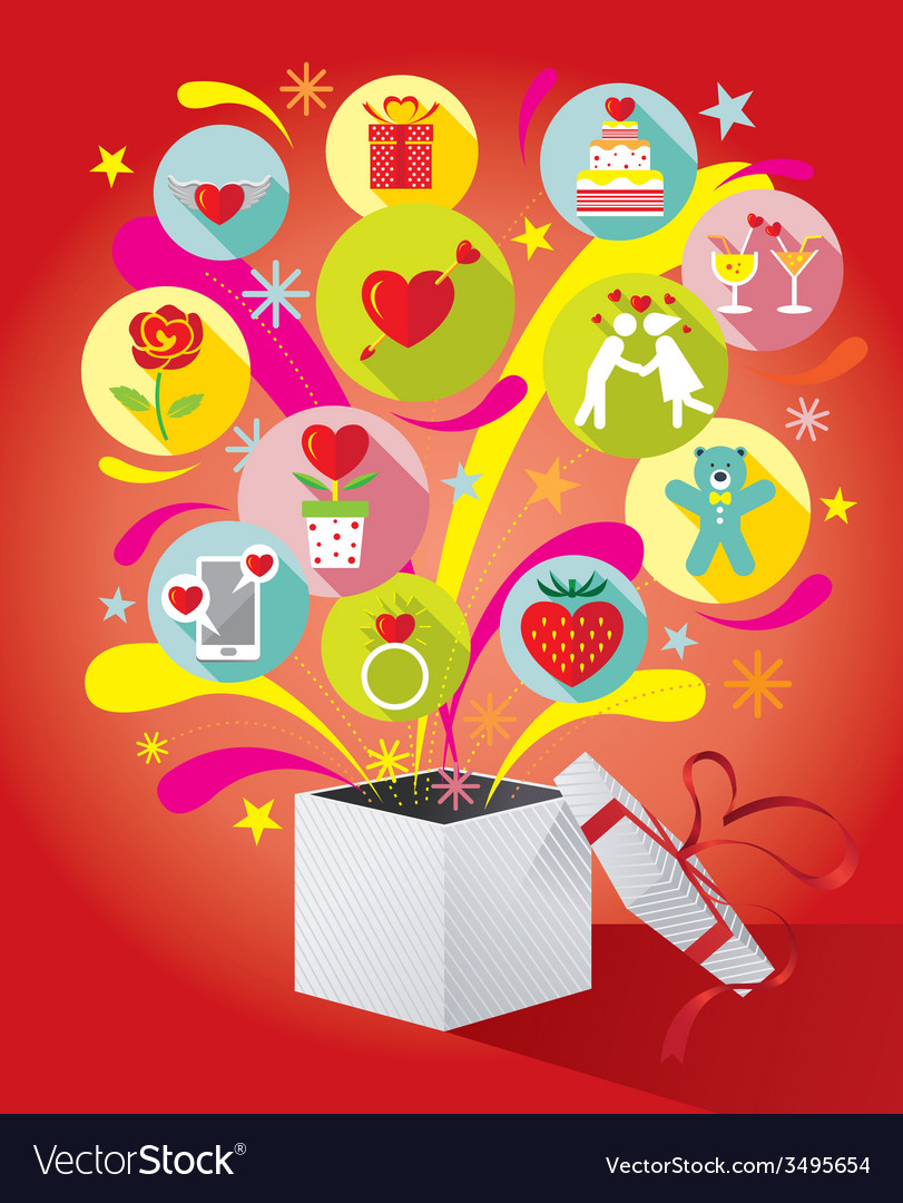 Gift box with love icons vector | Price: 1 Credit (USD $1)