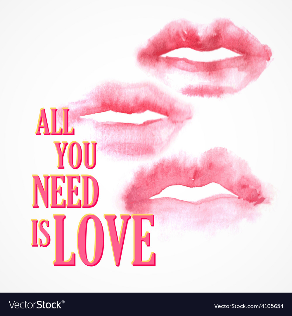 Inscription all you need is love poster vector | Price: 1 Credit (USD $1)