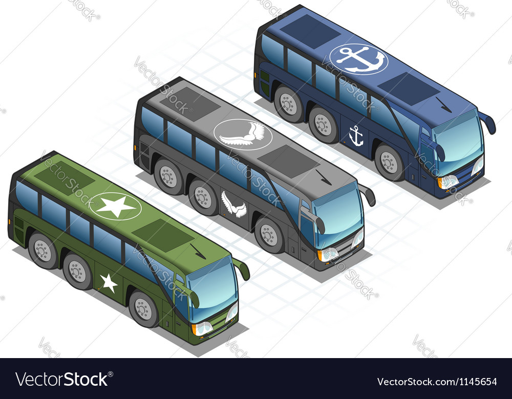 Isometric set of military buses vector | Price: 3 Credit (USD $3)