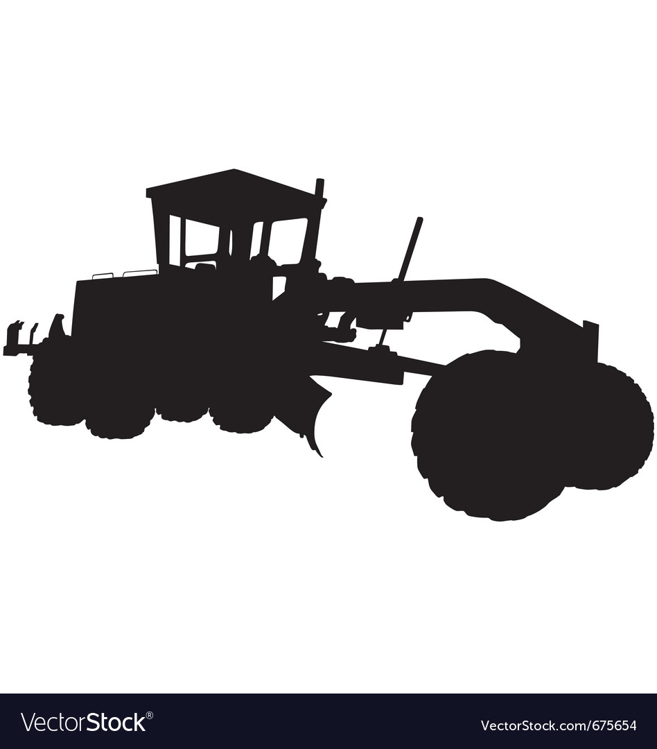 Motor road grader silhouette vector | Price: 1 Credit (USD $1)