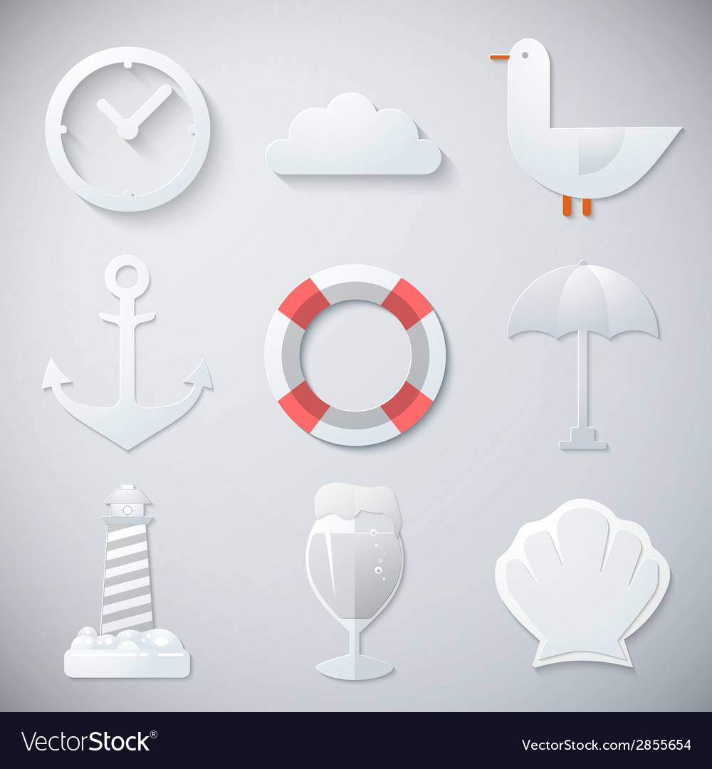 Paper summer sea travel weekend trip flat icon set vector | Price: 1 Credit (USD $1)