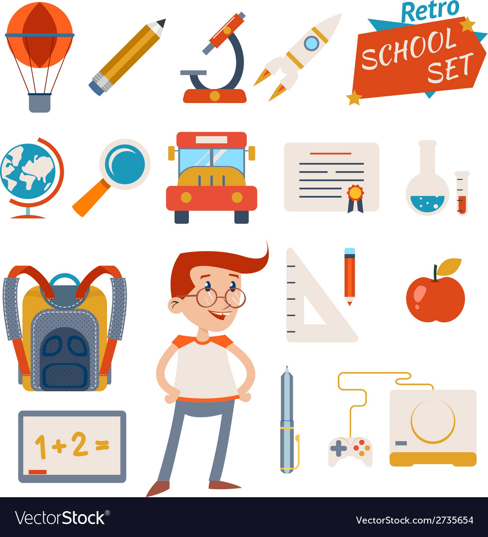 School icon set graphic designs on white vector | Price: 1 Credit (USD $1)