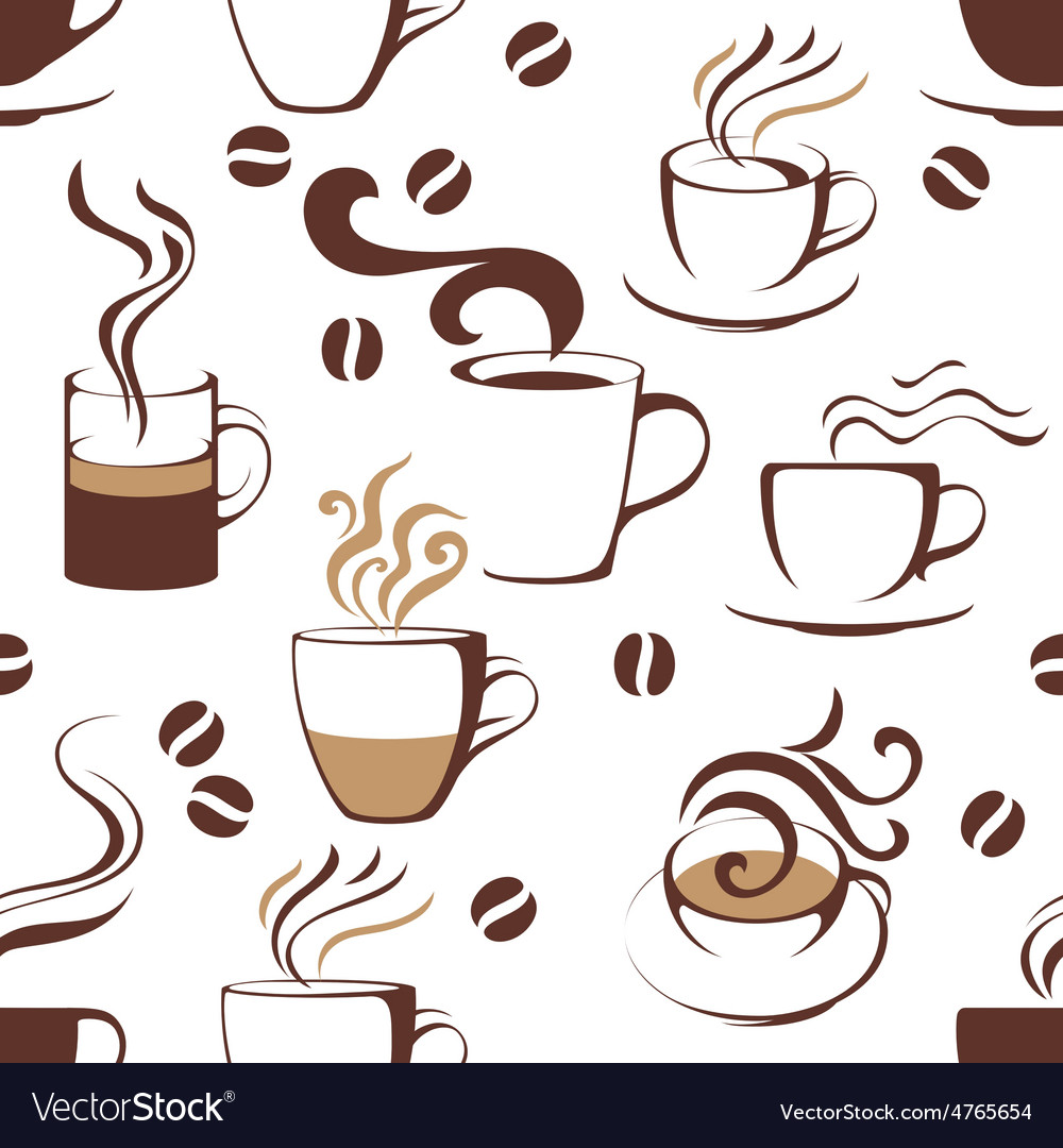 Seamless pattern with coffee cups vector | Price: 1 Credit (USD $1)
