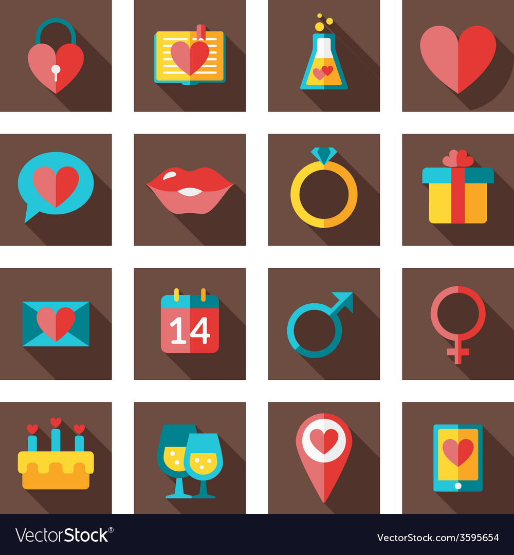 St valentines day flat design icon set love vector | Price: 1 Credit (USD $1)