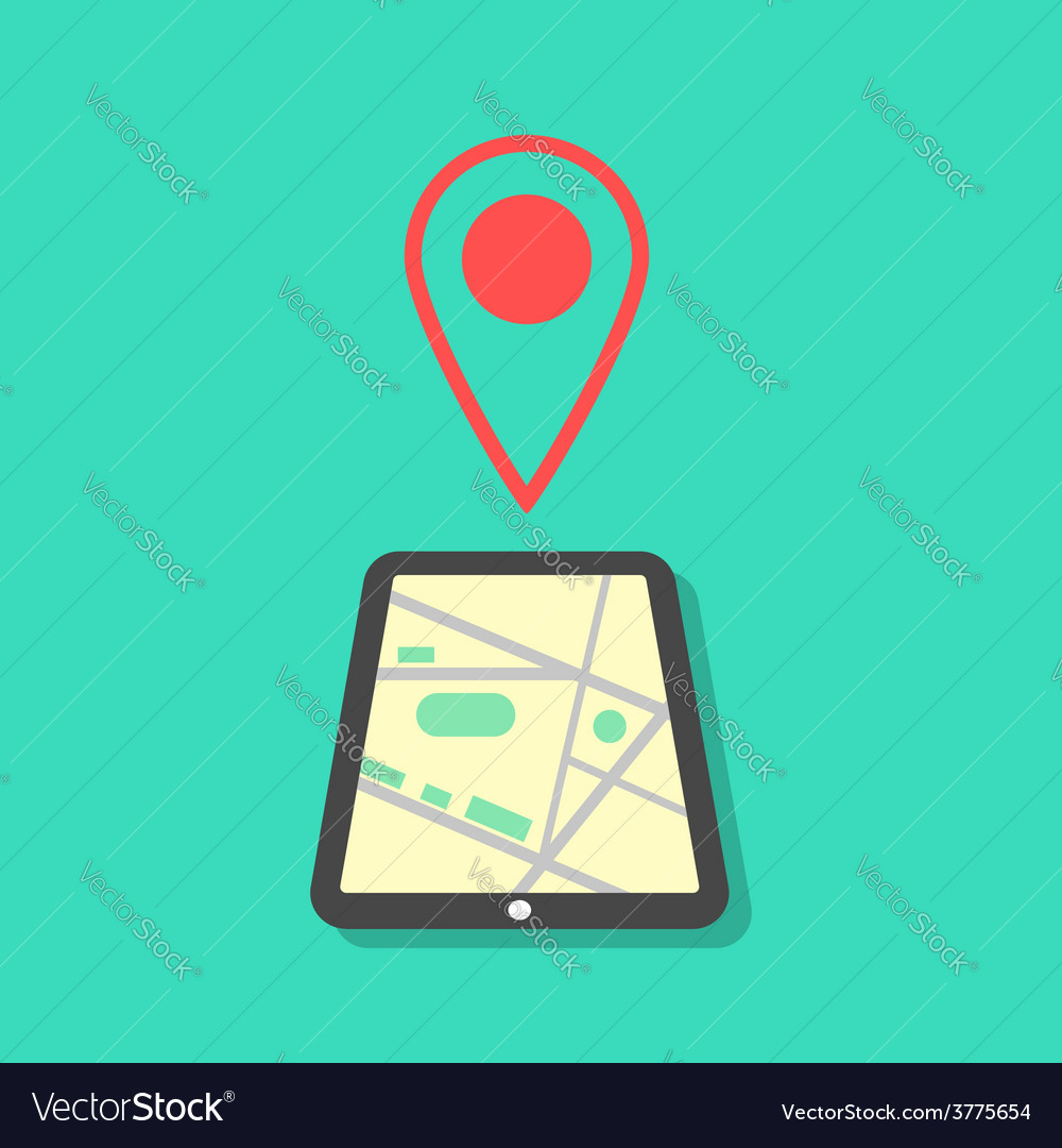 Tablet with map and pointer vector | Price: 1 Credit (USD $1)