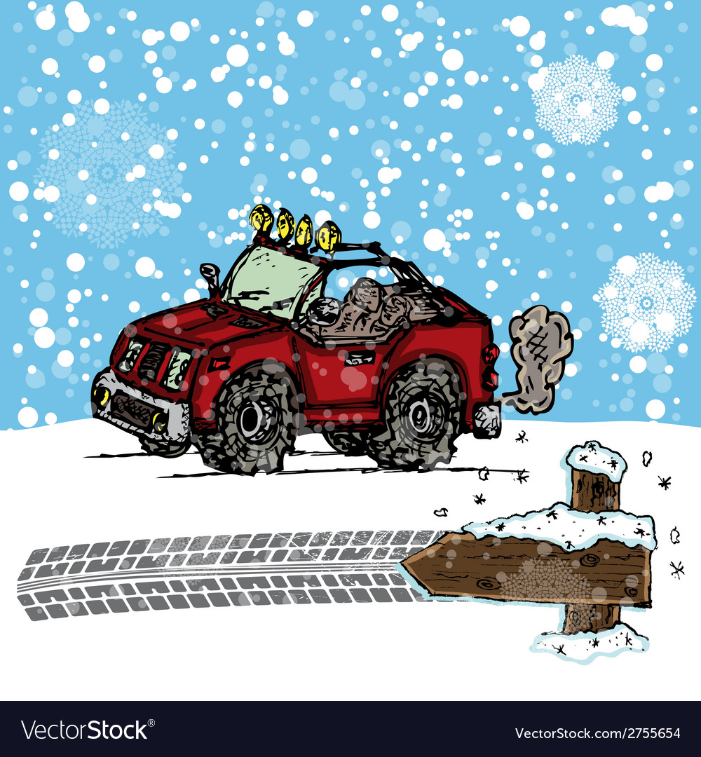 Winter suv sketch vector   Price: 1 Credit (USD $1)