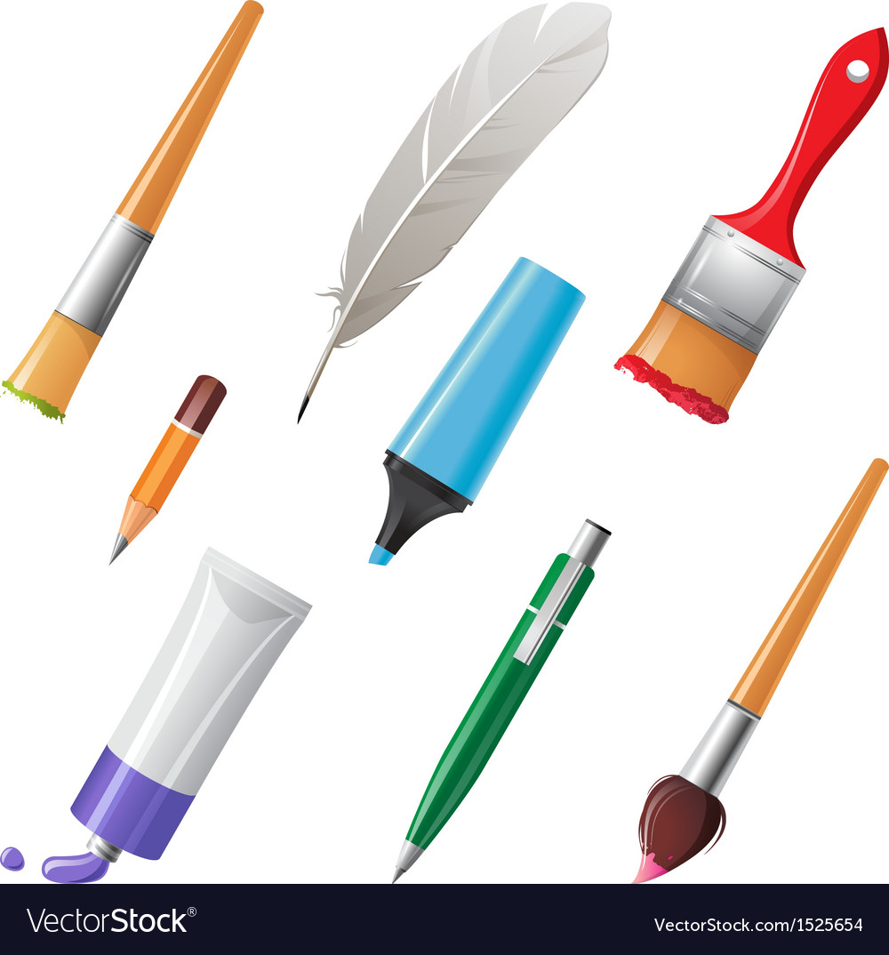Writing tools set vector | Price: 1 Credit (USD $1)