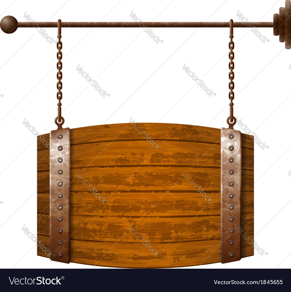 Barrel shaped wooden signboard on rusty chains vector | Price: 1 Credit (USD $1)