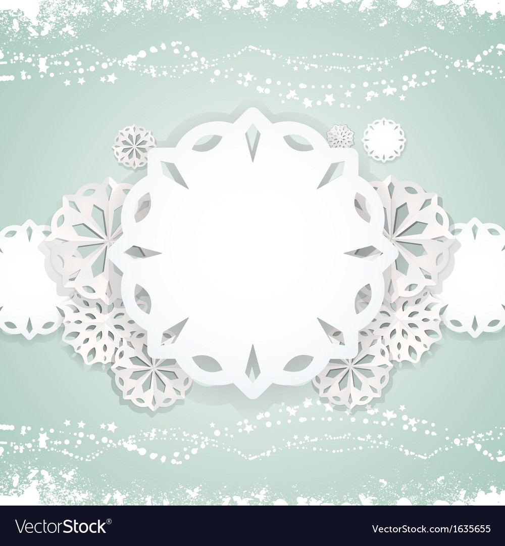 Paper snowflake background on blue vector | Price: 1 Credit (USD $1)