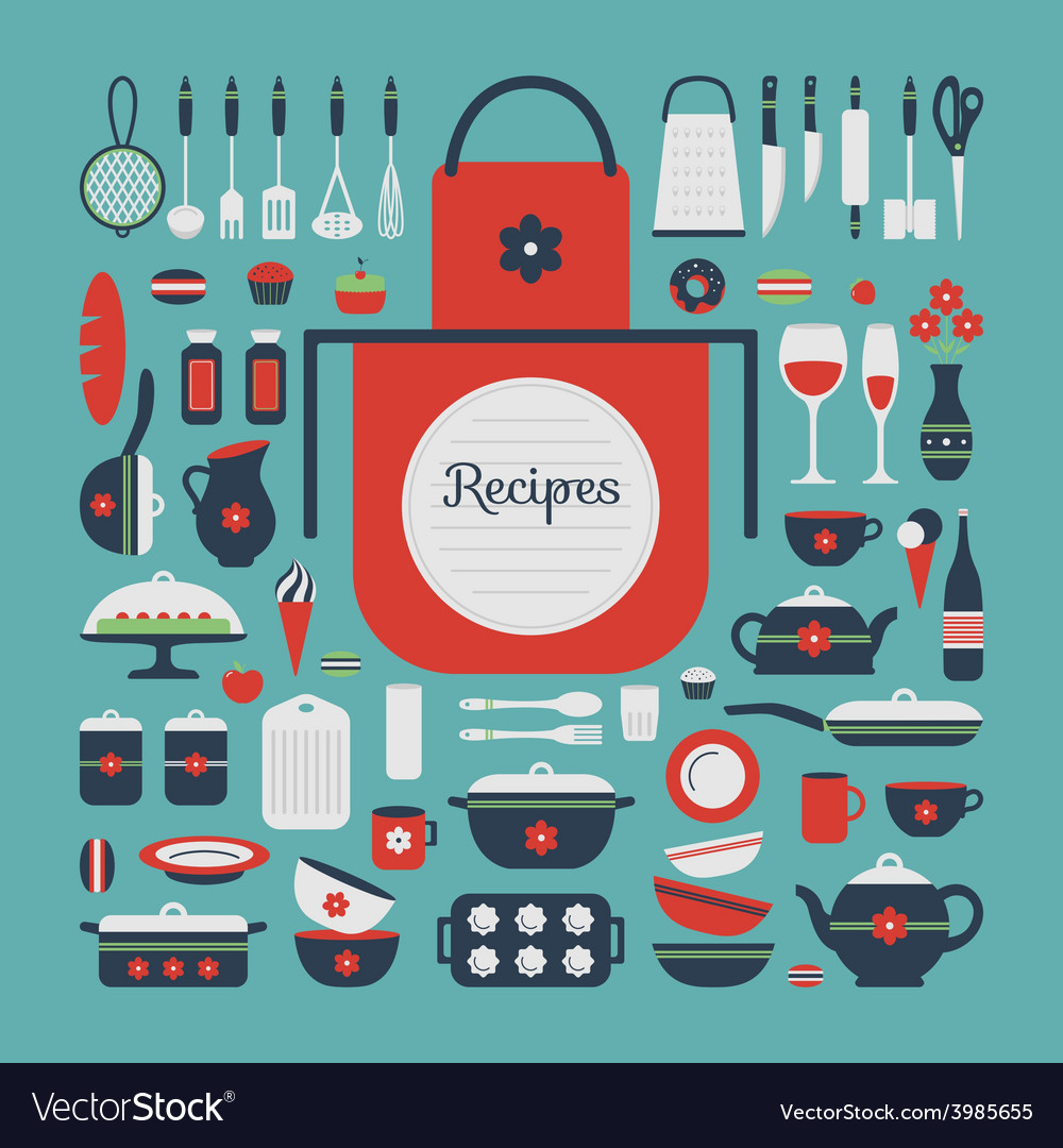 Set of kitchen utensils and food vector | Price: 1 Credit (USD $1)