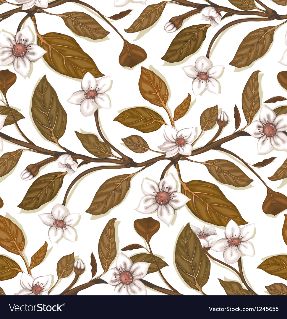 White flowers on twig seamless pattern vector | Price: 1 Credit (USD $1)